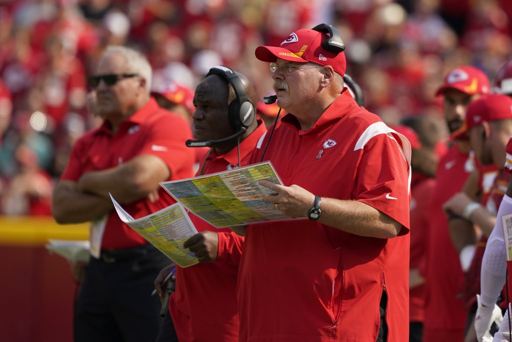 Kansas City Chiefs head coach Andy Reid watches from the sidelines during the first half of an NFL football game against the Cleveland Browns Sunday, ...