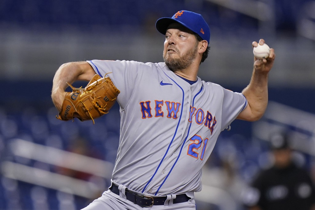 New York Mets' Rich Hill delivers a pitch during the first inning of the team's baseball game against the Miami Marlins, Wednesday, Sept. 8, 2021, in ...