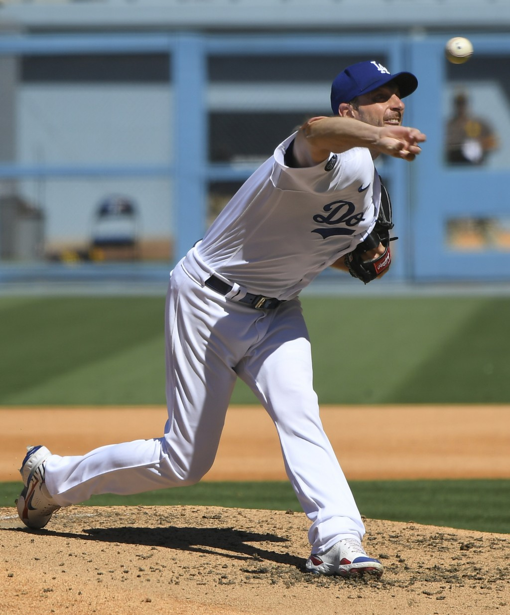 Los Angeles Dodgers Max Scherzer pitches his 3000th career strikeout with this throw against San Diego Padres first baseman Eric Hosmer in the fifth i...