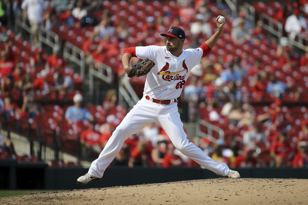 St. Louis Cardinals relief pitcher T.J. McFarland delivers during the seventh inning of a baseball game against the Cincinnati Reds, Sunday, Sept. 12,...