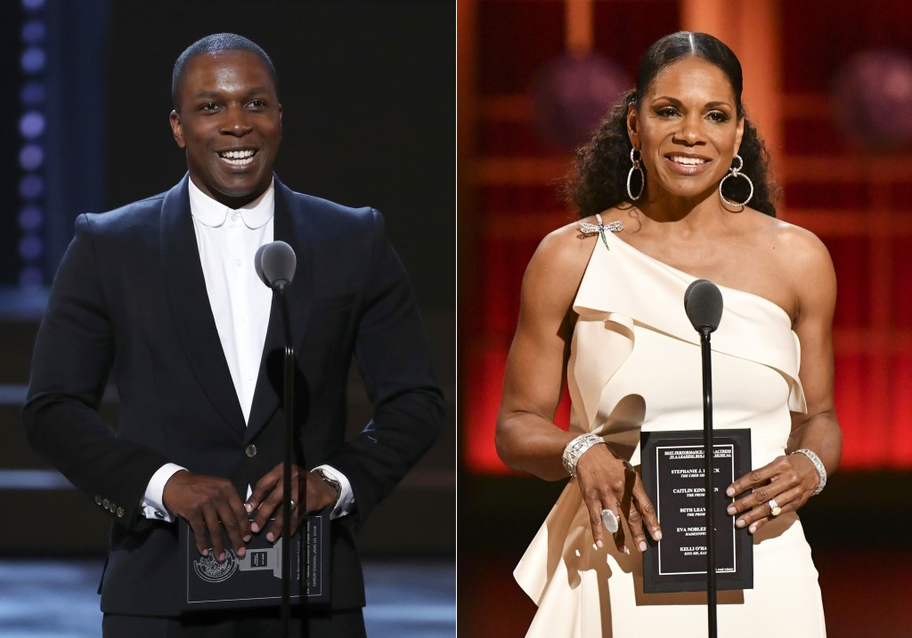 Leslie Odom Jr. presents an award at the 72nd annual Tony Awards in New York on June 10, 2018, left, and Audra McDonald presents an award at the 73rd ...