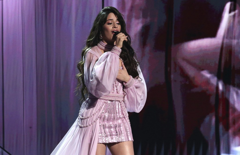 FILE - Camila Cabello performs at the 62nd annual Grammy Awards on Jan. 26, 2020, in Los Angeles. Cabello will perform at the 2021 MTV Video Music Awa...