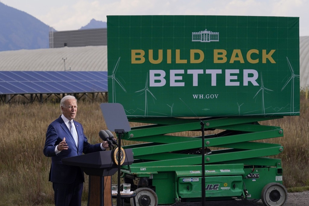 President Joe Biden speaks about infrastructure at the Flatirons campus of the National Renewable Energy Laboratory, Tuesday, Sept. 14, 2021, in Arvan...