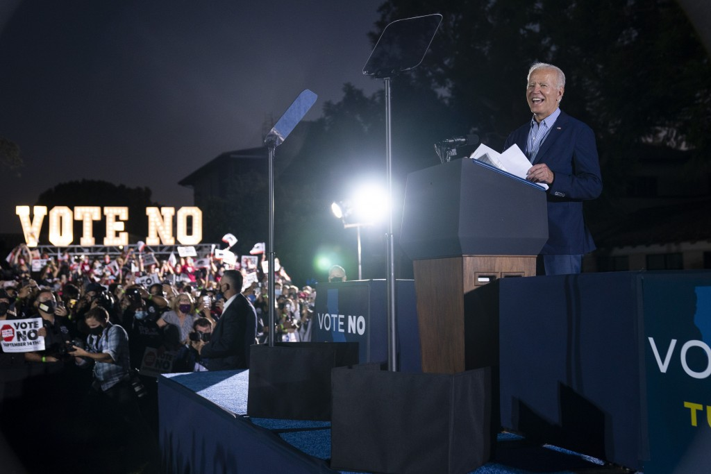President Joe Biden speaks at a get out the vote rally for Gov. Gavin Newsom, D-Calif., at Long Beach City College, Monday, Sept. 13, 2021, in Long Be...