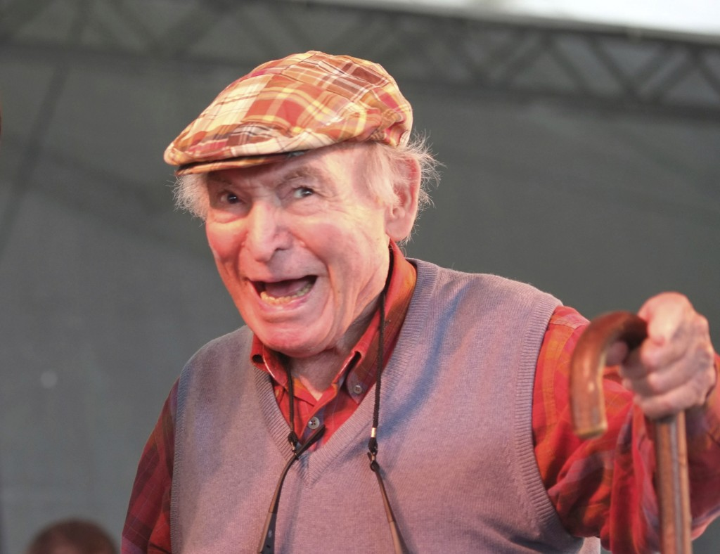 FILE - In this Aug. 4, 2013, file photo, Newport Jazz Festival producer and founder George Wein appears on stage at the Newport Jazz Festival in Newpo...
