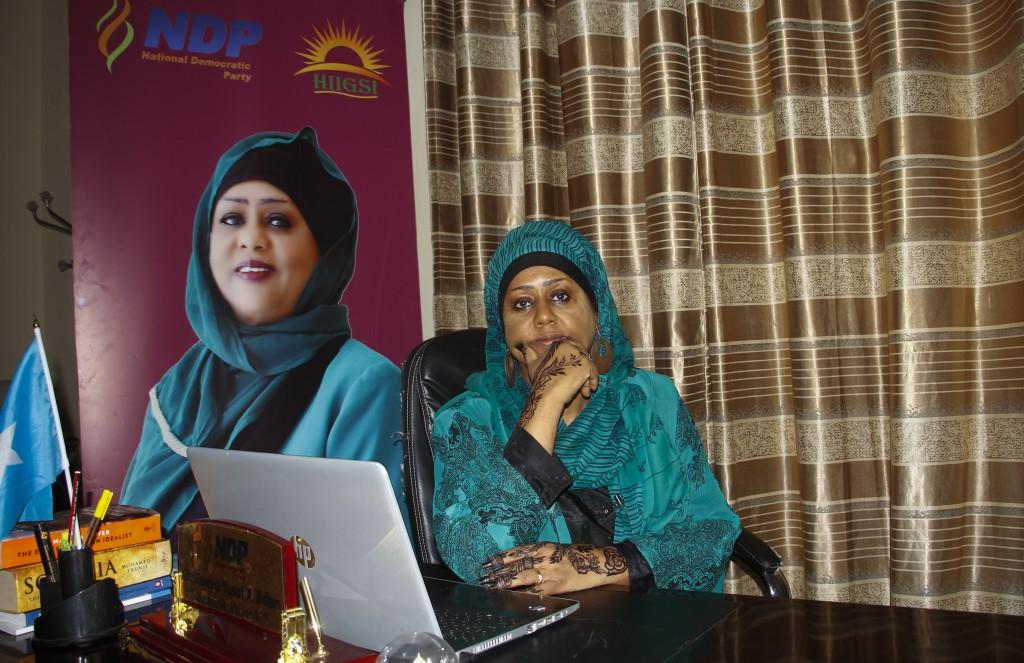 Somali Parliament member Fawzia Yusuf H. Adam sits in her office in Mogadishu, Somalia Saturday, July 17, 2021. The woman who broke barriers as the fi...