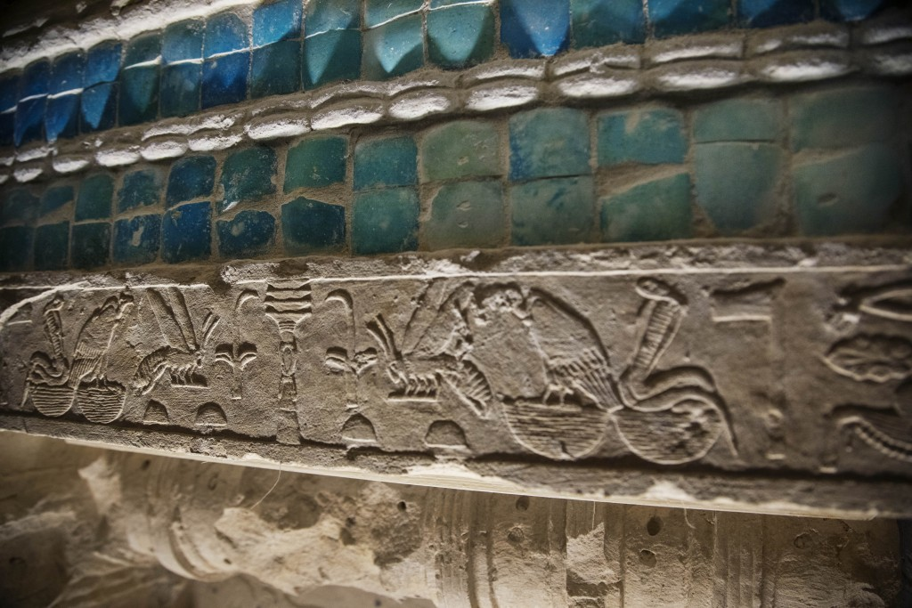 Inscriptions and details adorn the wall of the southern cemetery of King Djoser, after its restoration, near the famed Step Pyramid, in Saqqara, south...
