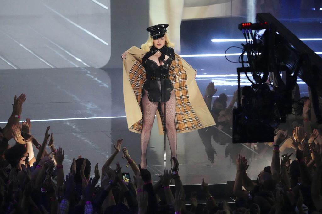 Madonna appears at the MTV Video Music Awards at Barclays Center on Sunday, Sept. 12, 2021, in New York. (Photo by Charles Sykes/Invision/AP)