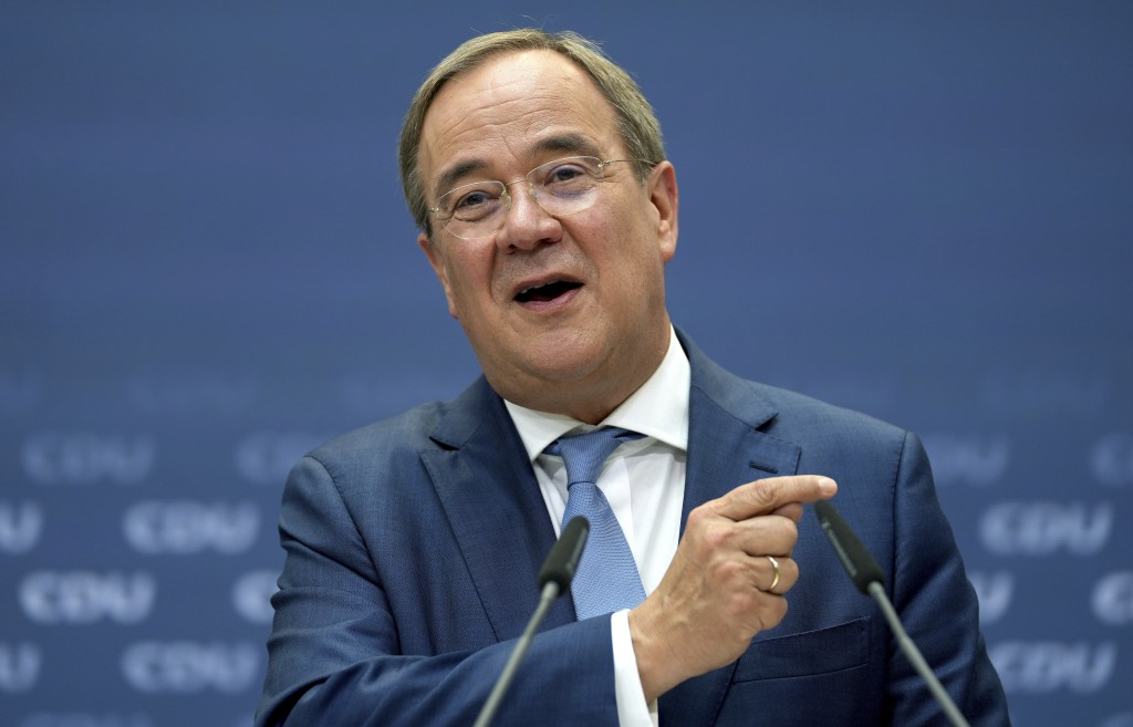 Armin Laschet, chairman of the German Christian Democratic Union (CDU) and the party's top cadidate for the federal election, addresses the media duri...