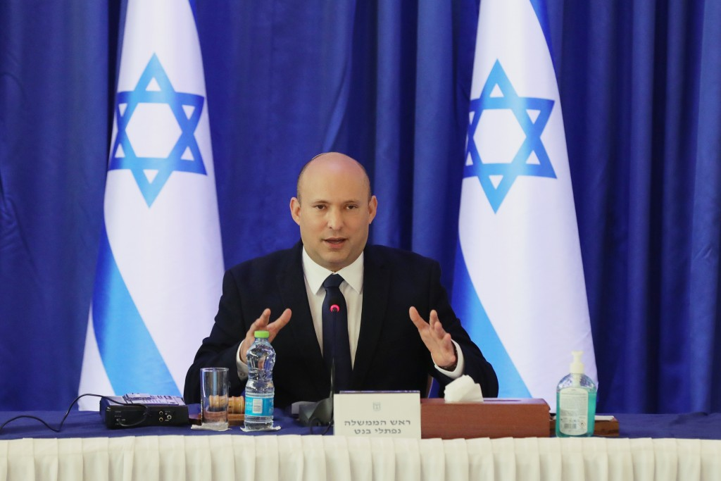 Israeli Prime Minister Naftali Bennett attends a cabinet meeting at the Ministry of Foreign Affairs office in Jerusalem on Saturday, Sept. 11, 2021. (...