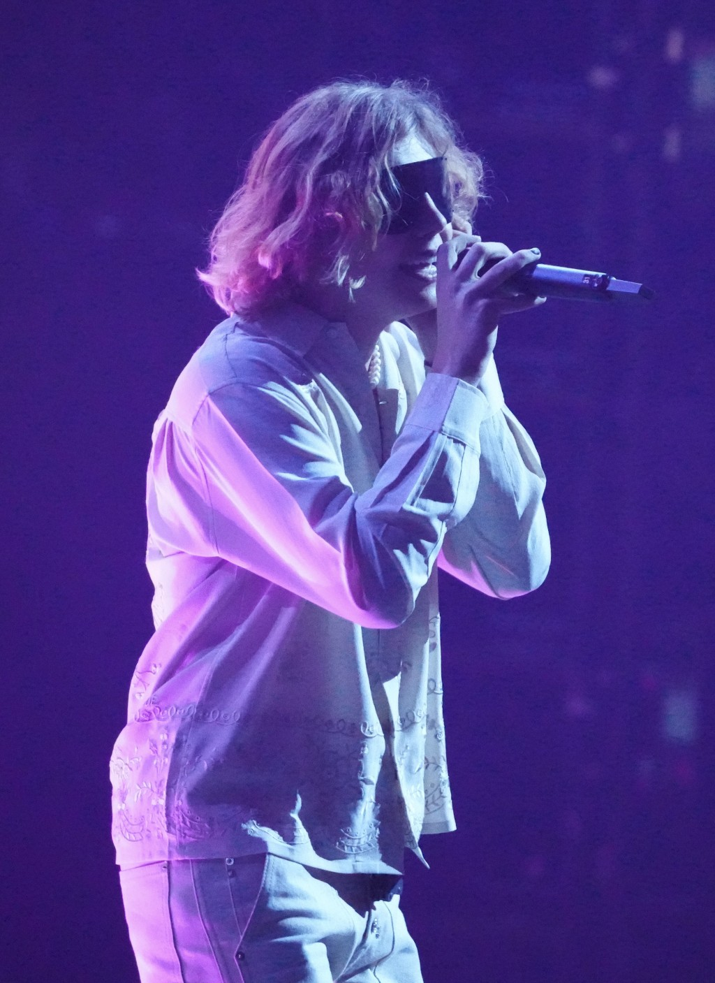 """The Kid Laroi performs """"Stay""""at the MTV Video Music Awards at Barclays Center on Sunday, Sept. 12, 2021, in New York. (Photo by Charles Sykes/Invision..."""