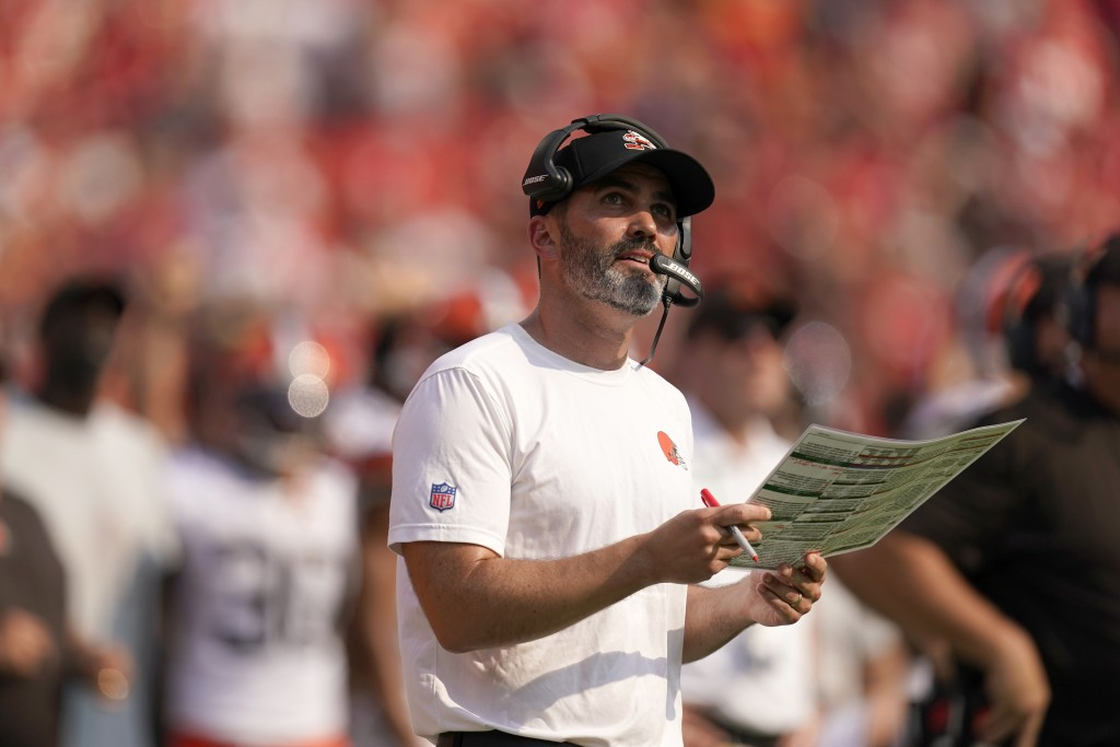 Cleveland Browns head coach Kevin Stefanski watches from the sidelines during the first half of an NFL football game against the Kansas City Chiefs Su...
