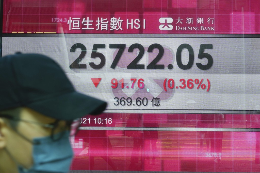 A man walks past a bank's electronic board showing the Hong Kong share index at Hong Kong Stock Exchange in Hong Kong Tuesday, Sept. 14, 2021. Asian s...