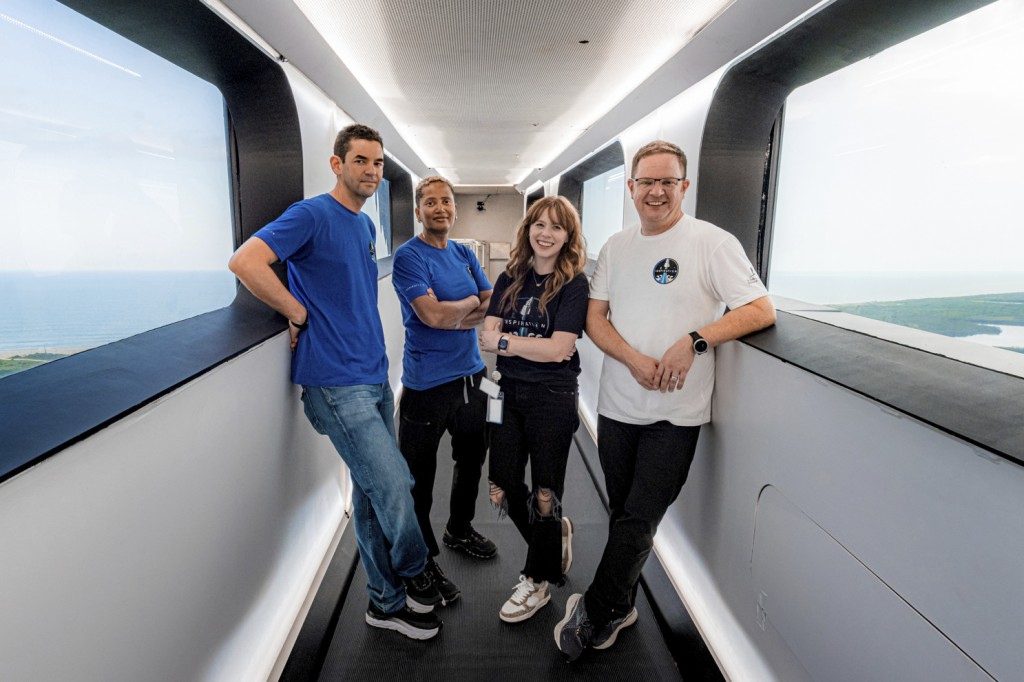 In this July 28, 2021 photo provided by John Kraus, from left, Jared Isaacman, Sian Proctor, Hayley Arceneaux and Chris Sembroski stand in the crew ac...