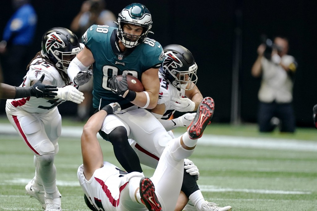 Philadelphia Eagles tight end Dallas Goedert (88) runs against the Atlanta Falcons during the second half of an NFL football game, Sunday, Sept. 12, 2...
