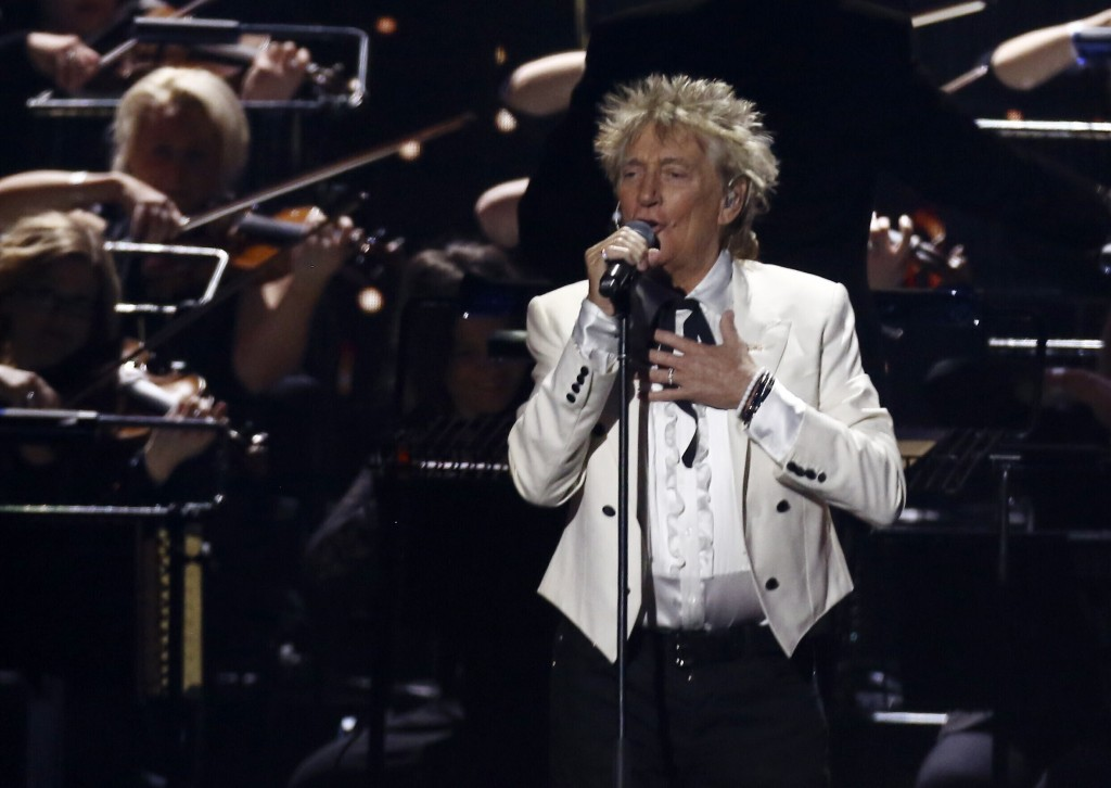 FILE - In this Feb. 18, 2020 file photo, Rod Stewart performs on stage at the Brit Awards 2020 in London. A Florida judge on Thursday, Sept. 9, 2021, ...