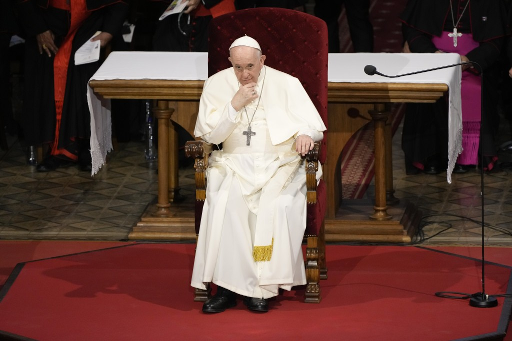 Pope Francis attends a meeting with priests, religious men and women, seminarians and catechists, at the Cathedral of Saint Martin, in Bratislava, Slo...