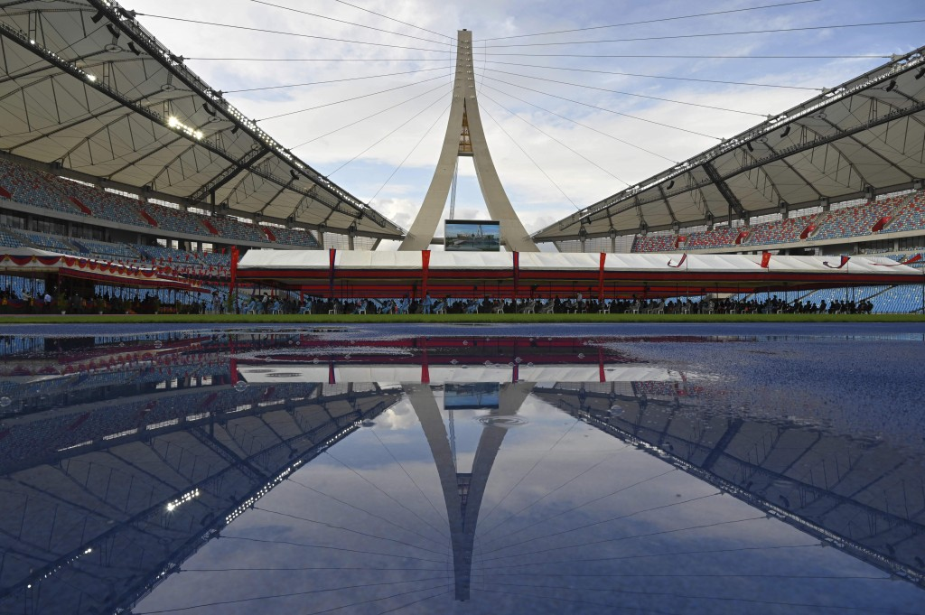 The Morodok Techo National Stadium is seen during a ceremony to hand it over to the Cambodian organizing committee of the Southeast Asian Games, in Ph...