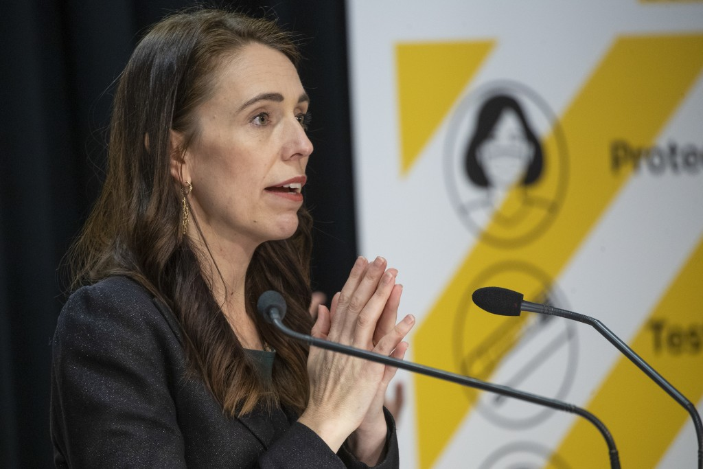 New Zealand Prime Minister Jacinda Ardern gestures during her COVID-19 response and vaccine update in Wellington, New Zealand, Thursday, Aug. 26, 2021...