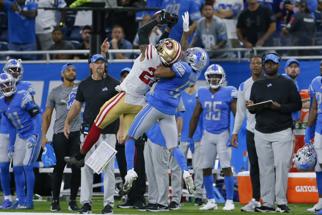 San Francisco 49ers cornerback Dontae Johnson breaks up a pass intended for Detroit Lions wide receiver Trinity Benson (17) in the second half of an N...