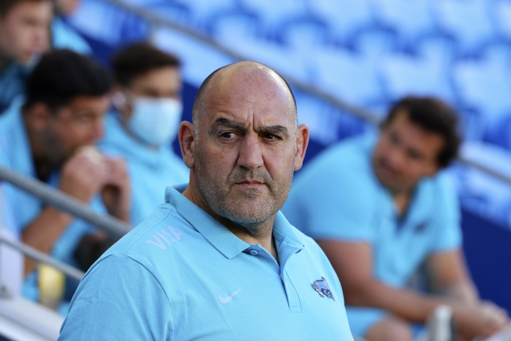 Argentina's head coach Mario Ledesma washes his team prepare to take on New Zealand in their Rugby Championship match on Sunday, Sept. 12, 2021, on th...