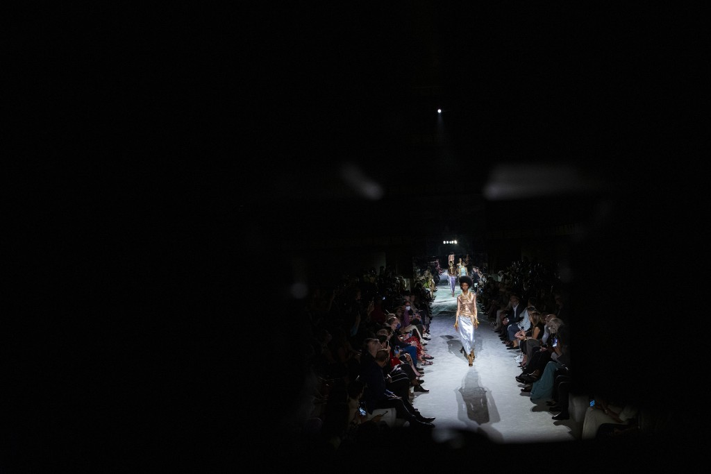 Models walk the runway at the Tom Ford spring/summer 2022 fashion show in the Lincoln Center during New York Fashion Week on Sunday, Sept. 12, 2021. (...