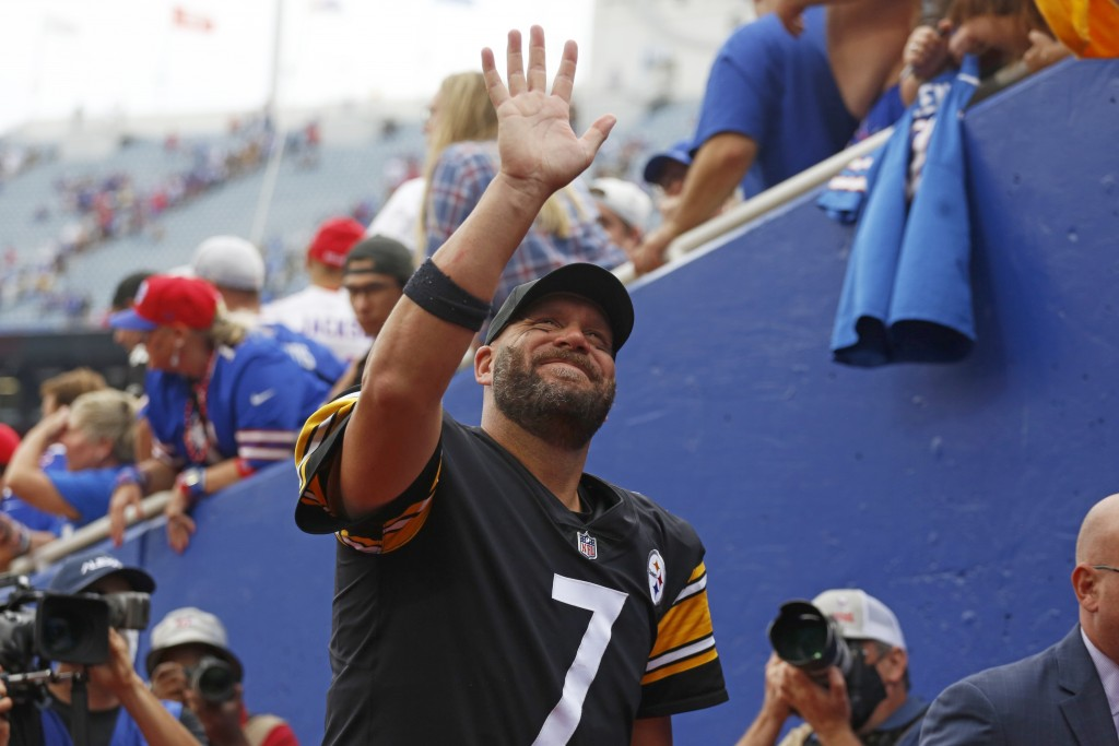 Pittsburgh Steelers quarterback Ben Roethlisberger waves to fans as he leaves the field following a 23-16 win over the Buffalo Bills in an NFL footbal...