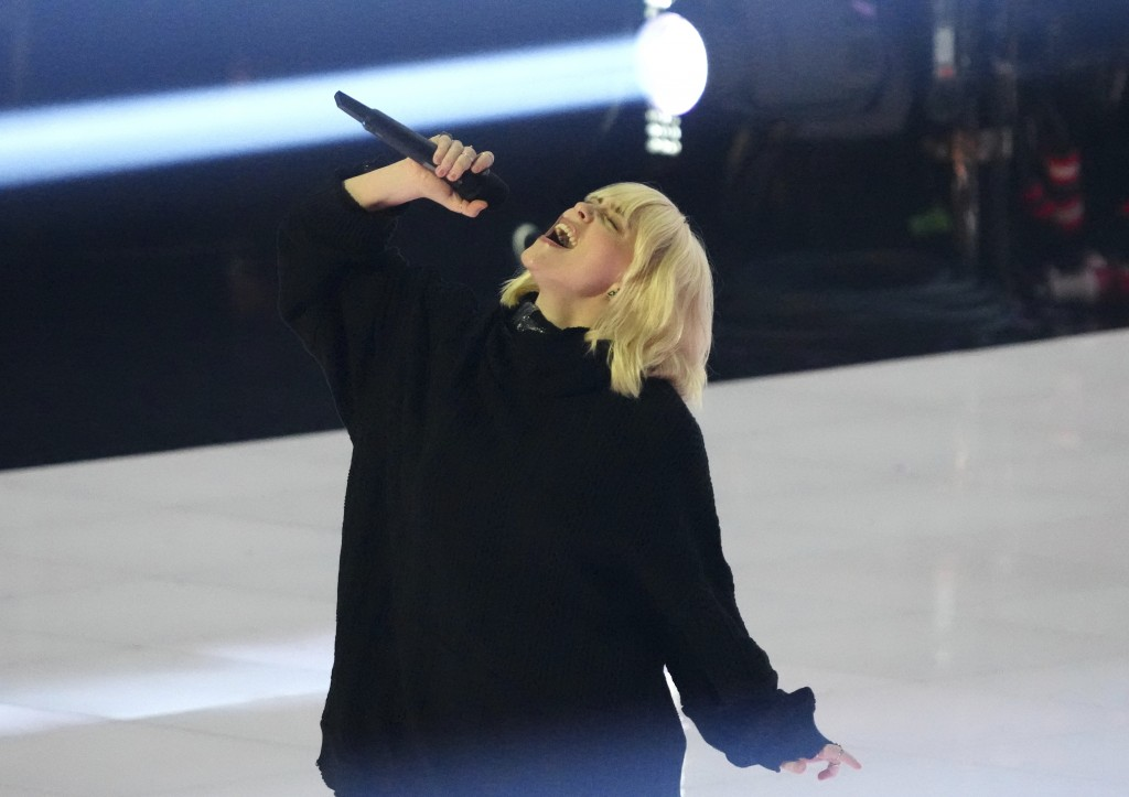 Billie Eilish introduces a performance by Foo Fighters at the MTV Video Music Awards at Barclays Center on Sunday, Sept. 12, 2021, in New York. (Photo...