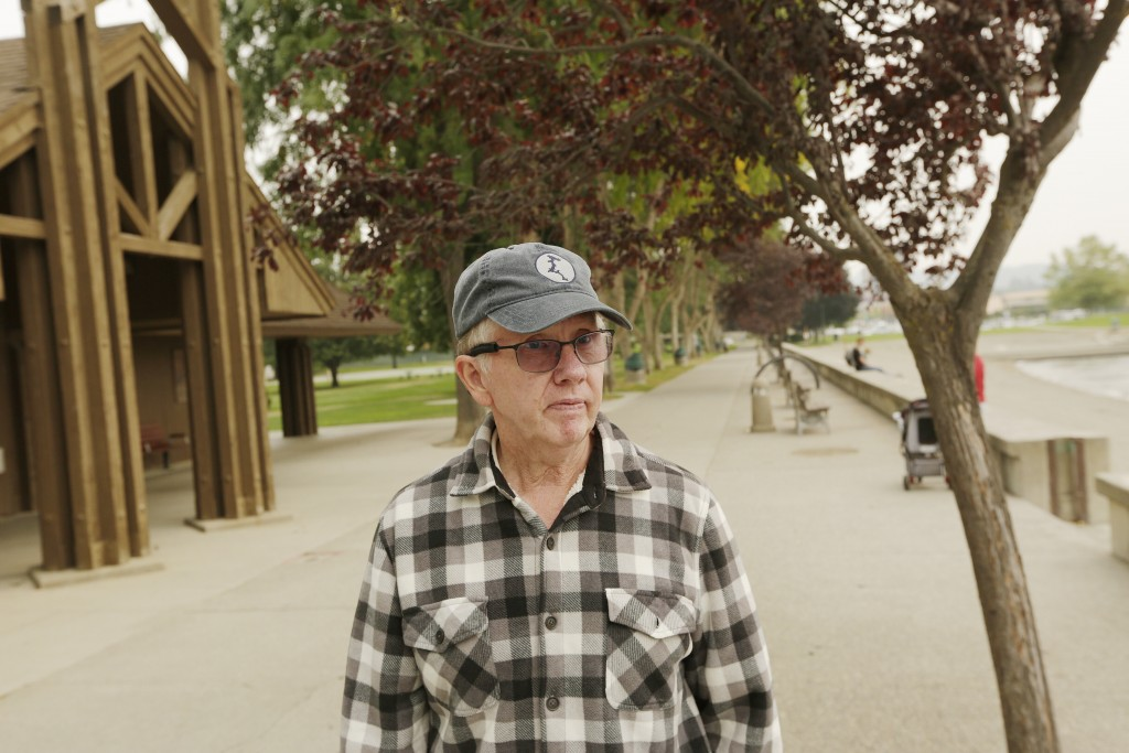 Dan Kress speaks about his support for efforts to stop the coronavirus at Coeur d'Alene City Park, Friday, Sept. 10, 2021, in Coeur d'Alene, Idaho.  N...