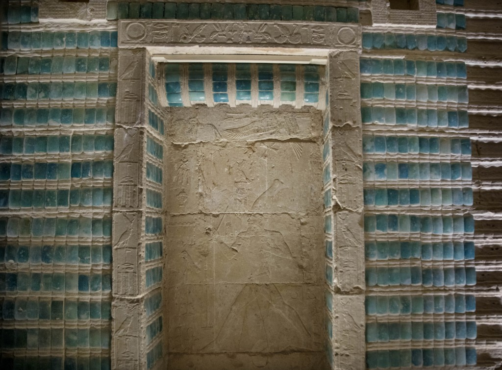 Inscriptions adorn the wall of the southern cemetery of King Djoser, after its restoration, near the famed Step Pyramid, in Saqqara, south of Cairo, E...