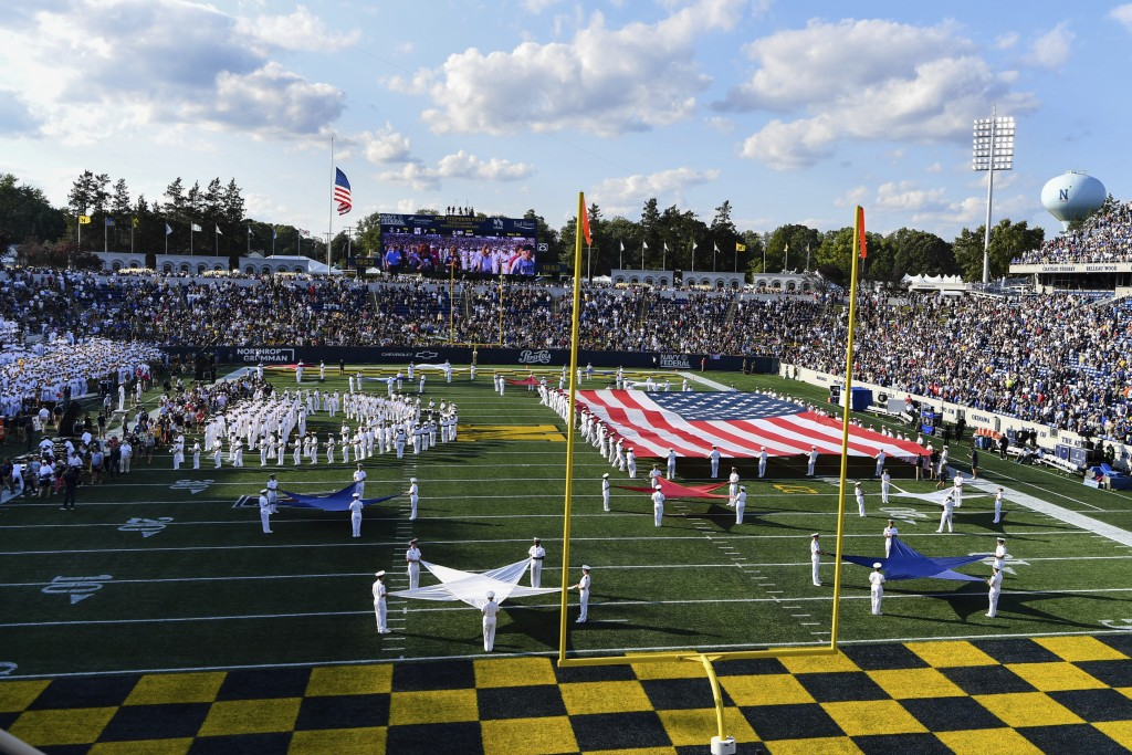 Navy's marching band performs at halftime during an NCAA college football game between Navy and Air Force, Saturday, Sept. 11, 2021, in Annapolis, Md....