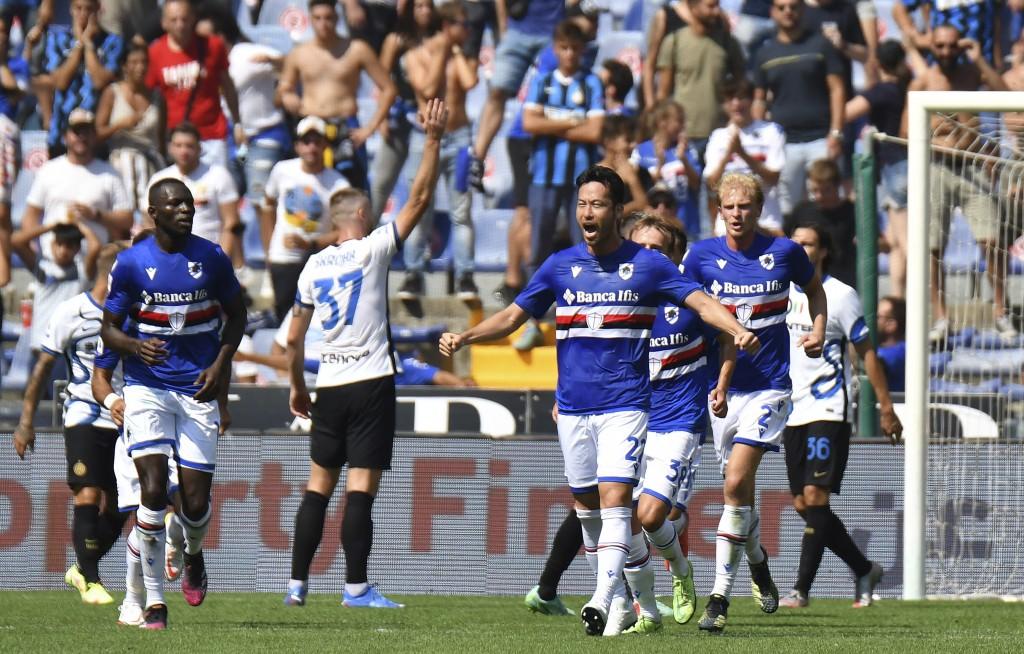 Sampdoria's Maya Yoshida celebrates after scoring his side's first goal during the Italian Serie A soccer match between Sampdoria and Inter Milan at t...