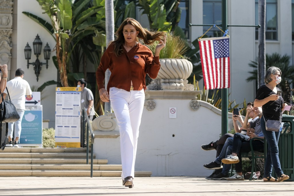 Caitlyn Jenner, gubernatorial candidate, leaves after casting her ballot for the California recall election at a vote center at City Hall in Beverly H...