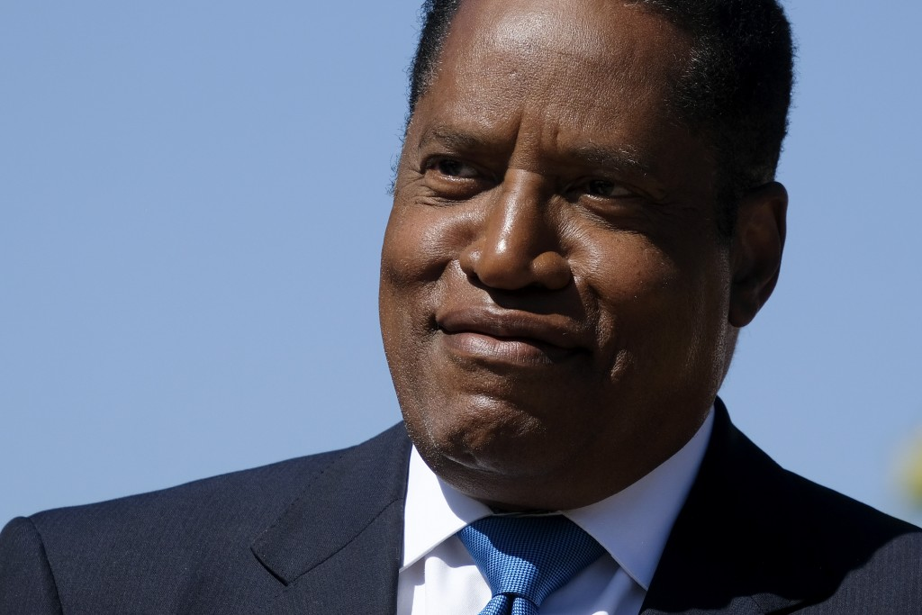 Republican conservative radio show host Larry Elder speaks at a rally for the California gubernatorial recall election on Monday, Sept. 13, 2021, in M...