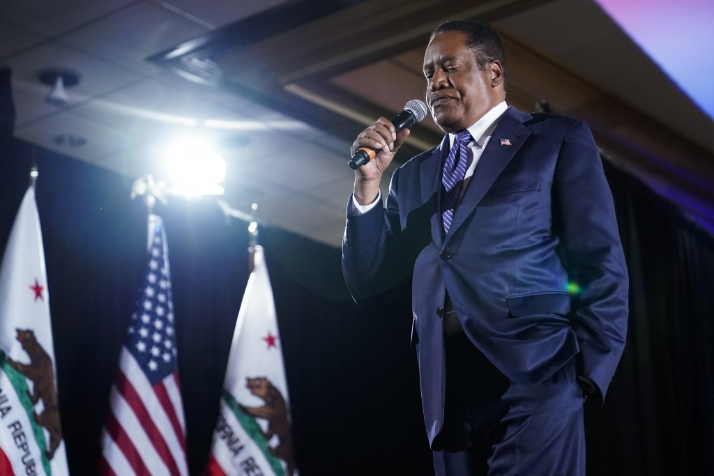 Republican conservative radio show host Larry Elder speaks to supporters after losing the California gubernatorial recall election Tuesday, Sept. 14, ...