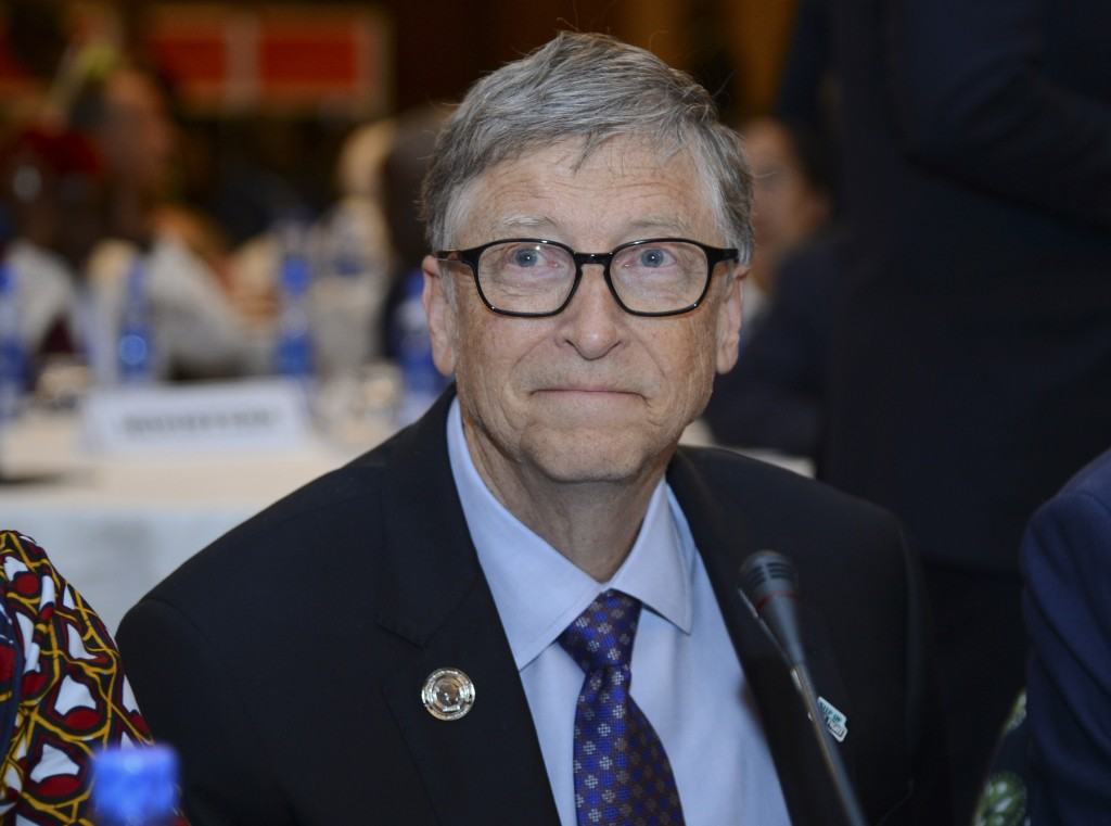 """FILE - In this Feb. 9, 2019, file photo, Bill Gates, chairman of the Bill & Melinda Gates Foundation, attends the """"Africa Leadership Meeting - Investi..."""
