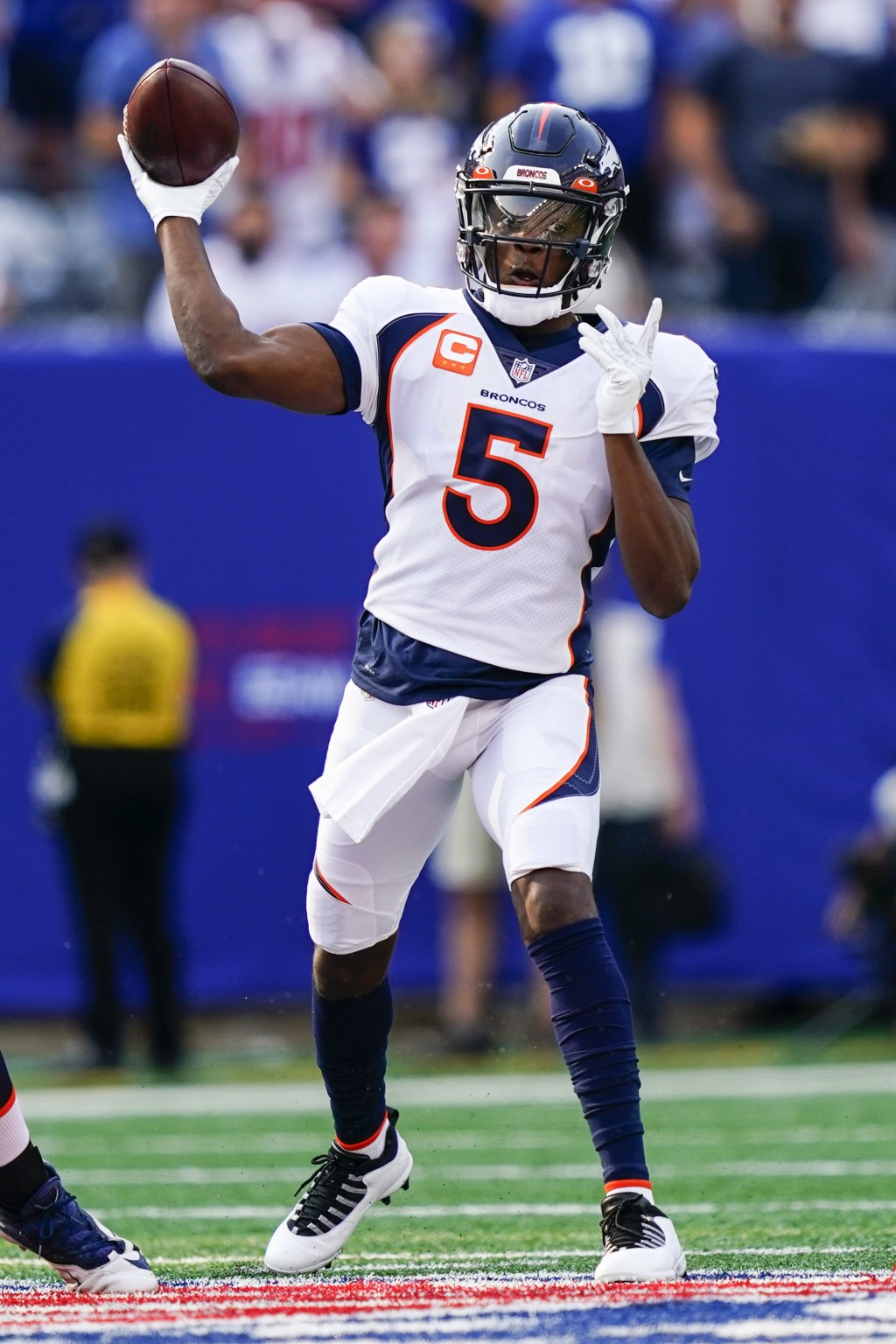 Denver Broncos quarterback Teddy Bridgewater (5) throws a pass during the first half of an NFL football game against the New York Giants, Sunday, Sept...