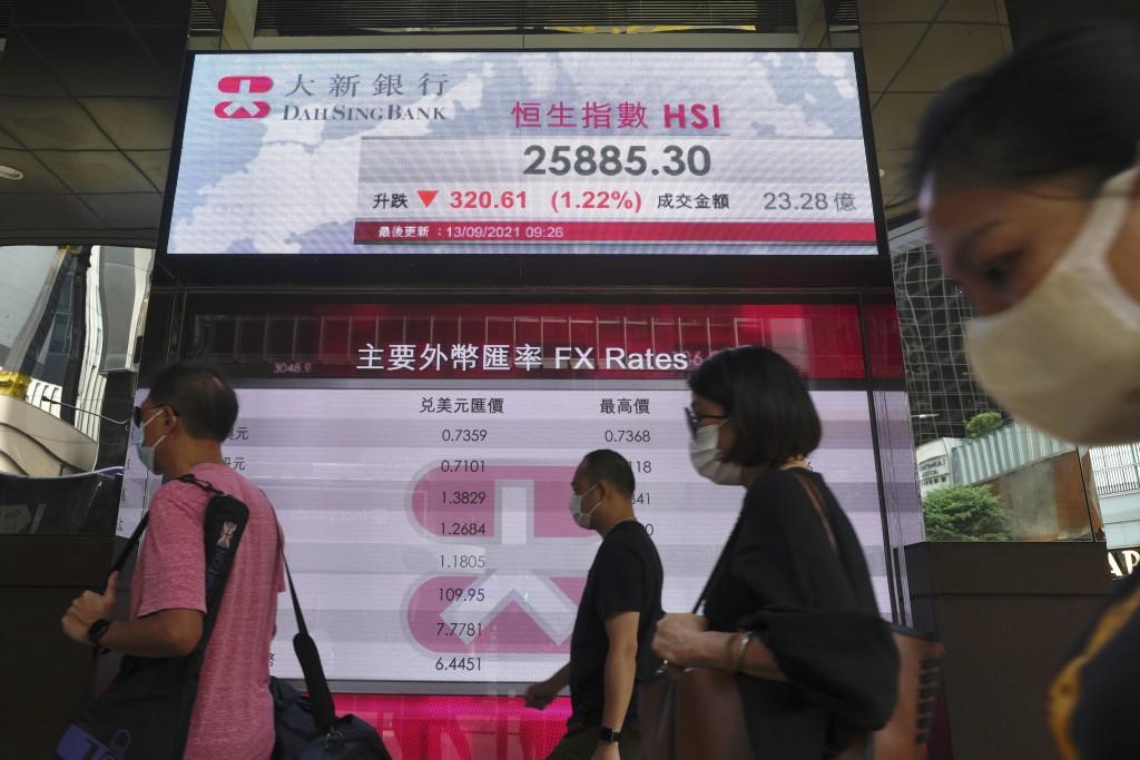 People walk past a bank's electronic board showing the Hong Kong share index at Hong Kong Stock Exchange in Hong Kong Monday, Sept. 13, 2021.  Shares ...