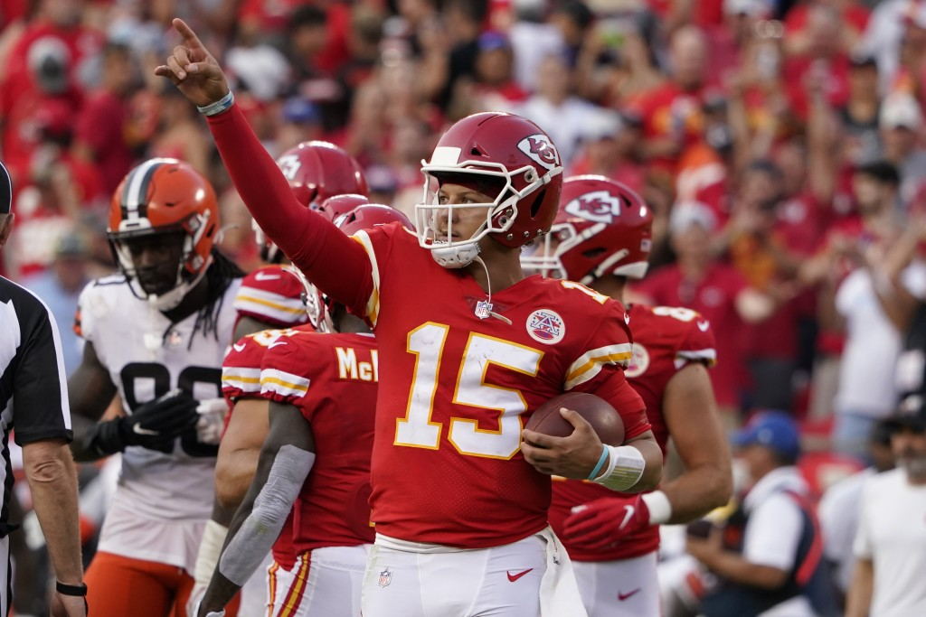 Kansas City Chiefs quarterback Patrick Mahomes celebrates after the final whistle in an NFL football game against the Cleveland Browns Sunday, Sept. 1...