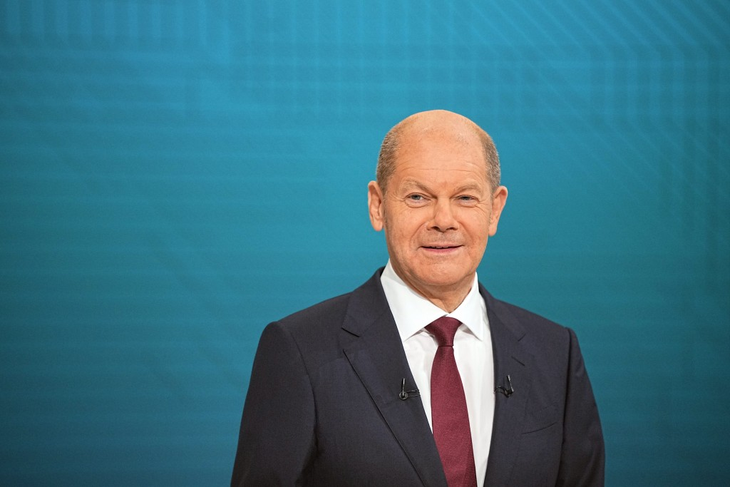Chancellor candidate Olaf Scholz (SPD) in the TV studio in Berlin, Sunday, Sept. 12, 2021. With two weeks left before Germany's national election, the...