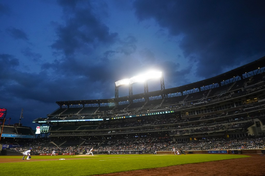 The St. Louis Cardinals play against the New York Mets during the first inning of a baseball game Monday, Sept. 13, 2021, in New York. (AP Photo/Frank...