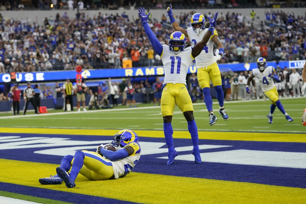 Los Angeles Rams defensive back David Long, left, intercepts a pass in the end zone during the first half of an NFL football game against the Chicago ...