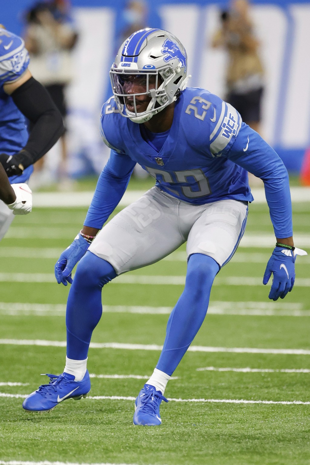 Detroit Lions cornerback Jeff Okudah (23) in action against the San Francisco 49ers in the first half during an NFL football game, Sunday, Sept. 12, 2...
