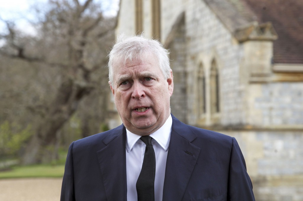 FILE - In this Sunday, April 11, 2021 file photo, Britain's Prince Andrew speaks. during a television interview at the Royal Chapel of All Saints at R...