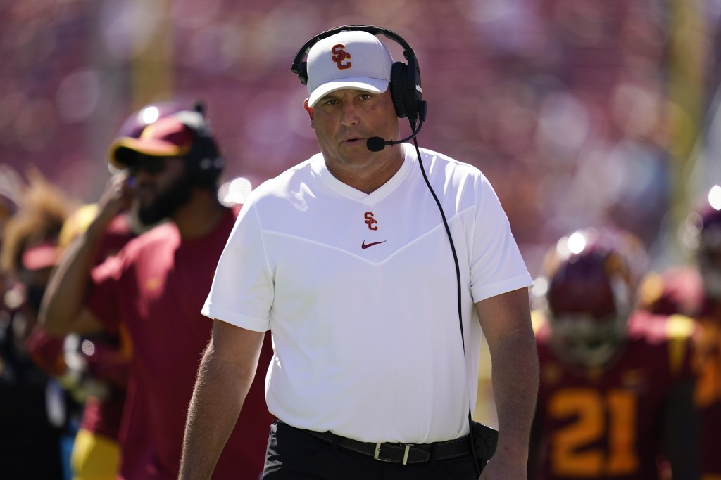 Southern California head coach Clay Helton walks on the sideline during an NCAA college football game against San Jose State Saturday, Sept. 4, 2021, ...