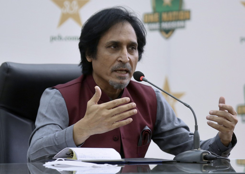 Ramiz Raja, newly elected Chairman of the Pakistan Cricket Board, gives a press conference, in Lahore, Pakistan, Monday, Sept. 13, 2021. Raja was elec...