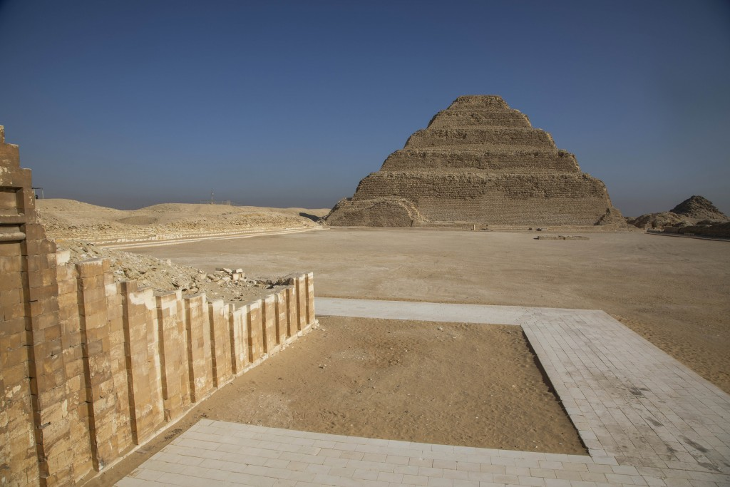 The famed Step Pyramid, is seen near the southern cemetery of King Djoser, after its restoration, in Saqqara, south of Cairo, Egypt, Tuesday, Sept. 14...