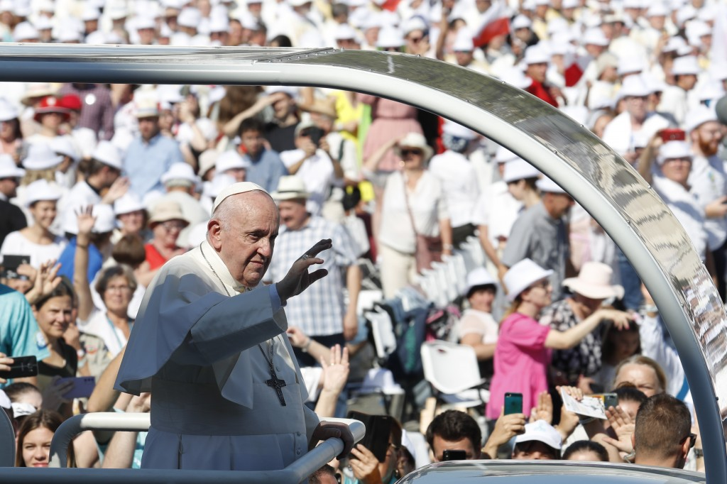 Pope Francis arrives to celebrate a mass for the closing of the International Eucharistic Congress, at Budapest's Heroes Square, Sunday, Sept. 12, 202...