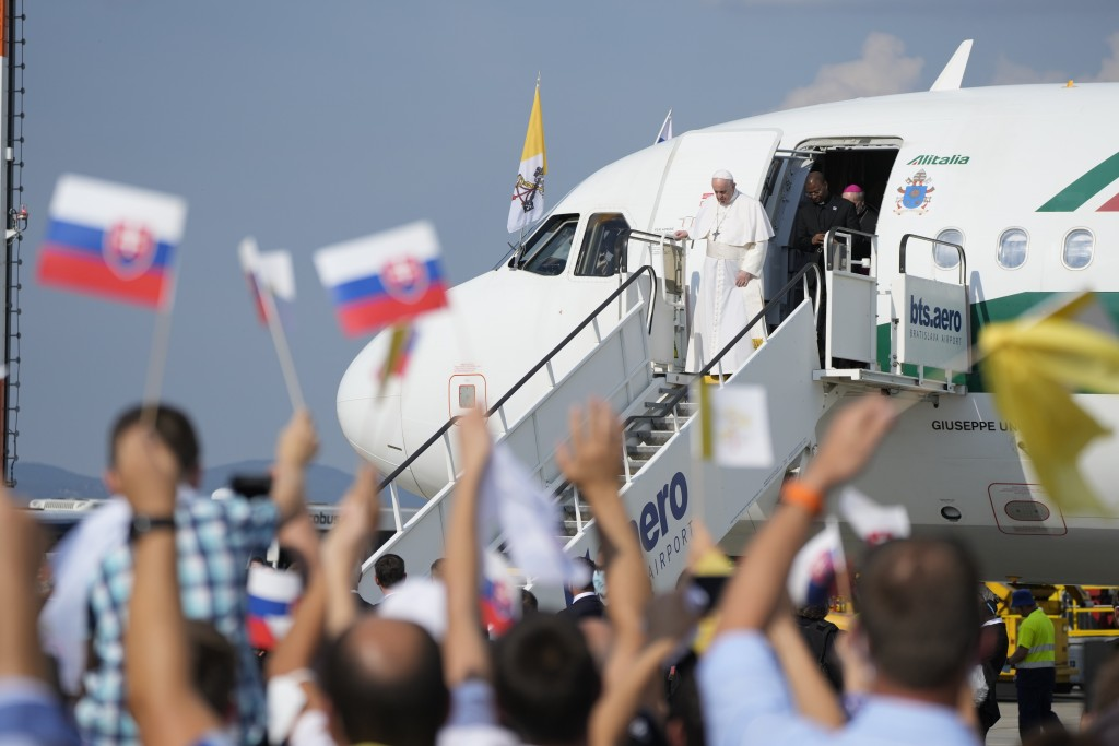 Pope Francis arrives at Bratislava, Slovakia, international airport Sunday, Sept. 12, 2021. Francis is opening his first foreign trip since undergoing...