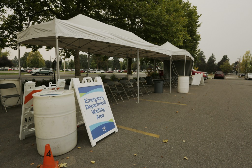 An outdoor emergency department waiting area is photographed at Kootenai Health, Friday, Sept. 10, 2021, in Coeur d'Alene, Idaho. Northern Idaho has a...